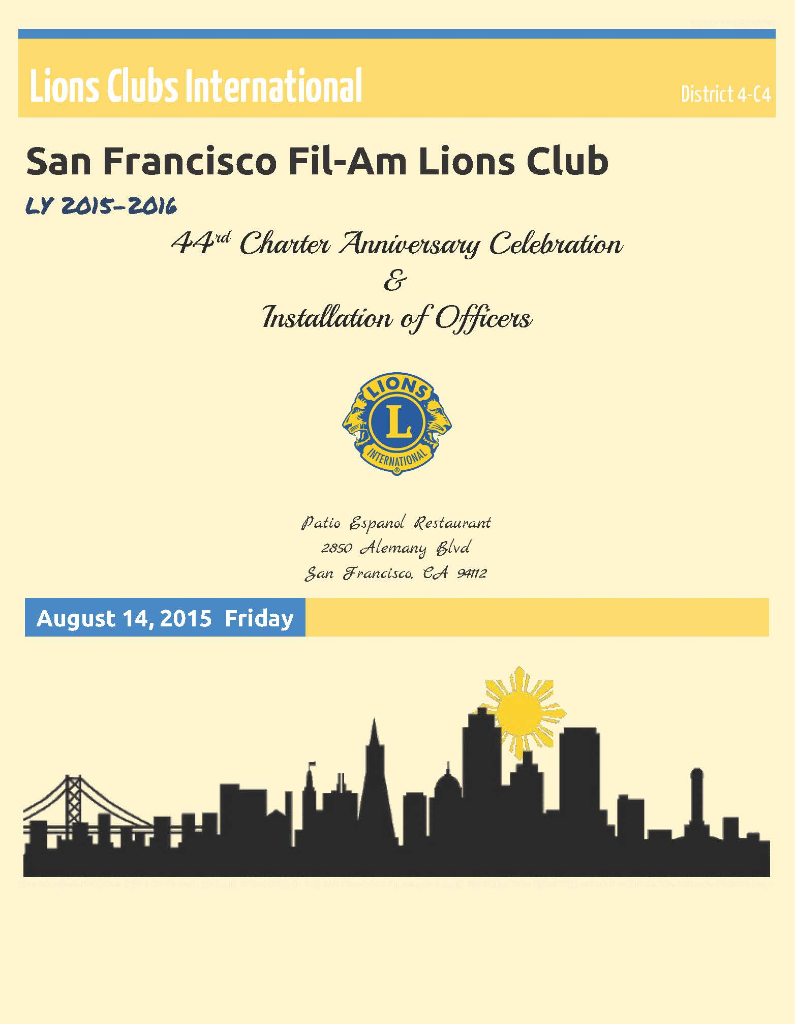 SF Fil Am Lions Club  Installation of Officer August 214th