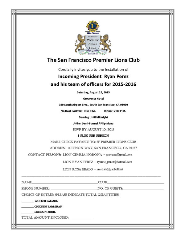 SF Premier Lions Club  Installation of Officer August 29