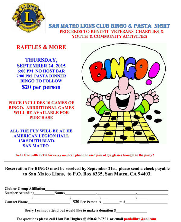 San Mateo Lions Club Bingo September 24, 2015